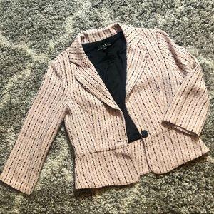 Heart Moon Star 3/4 Sleeve Tweed Like Blazer